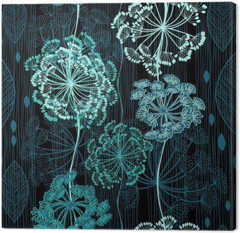 Seamless pattern of abstract flowers. Hand-drawn floral backgrou Canvas Print