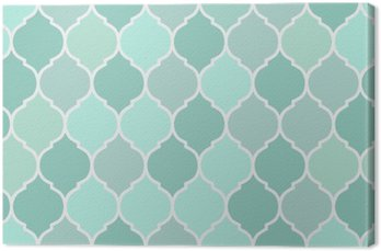 Seamless pattern turquoise tiles, vector Canvas Print