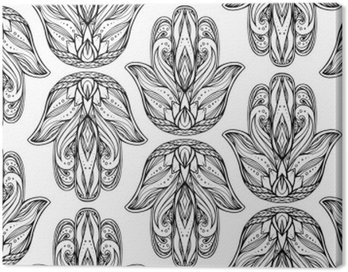 Seamless pattern with contour illustration of Hamsa with boho pattern. Hand of Buddha. Vector background for wallpapers, wrapper, printing on T-shirts and textile. Tracery hand drawn pattern