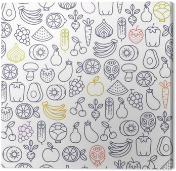 seamless pattern with fruits and vegetables icons Canvas Print