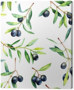 Seamless pattern with olive branches. Hand drawn watercolor illustration. Canvas Print