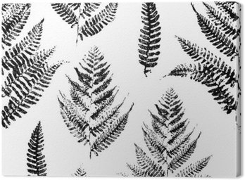 Canvas Print Seamless pattern with paint prints of fern leaves