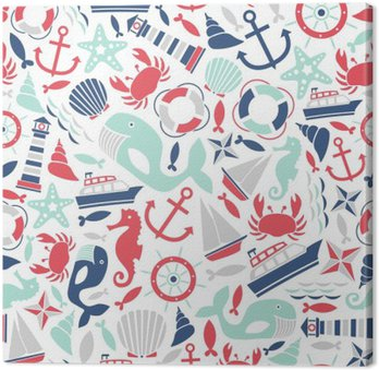 seamless pattern with sea icons Canvas Print