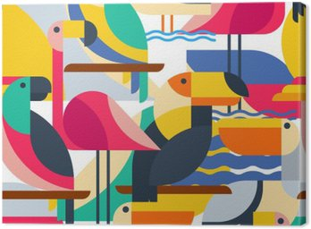 Canvas Print Seamless pattern with tropical birds.