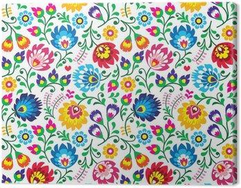 Canvas Print Seamless Polish folk art floral pattern