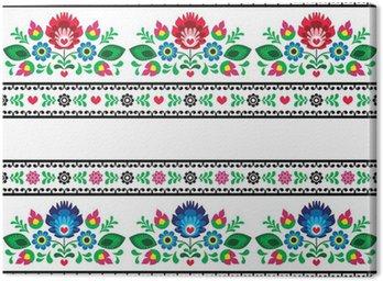 Canvas Print Seamless Polish folk pattern with flowers