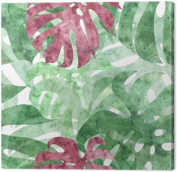 seamless repeatable monstera leaf background Canvas Print