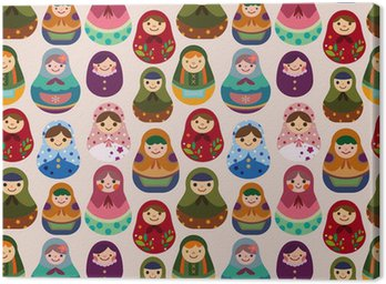 Canvas Print seamless Russian doll pattern