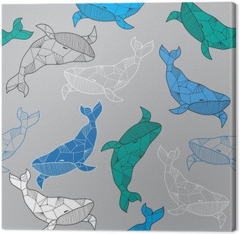 Seamless sea pattern with hand drawn whales Canvas Print