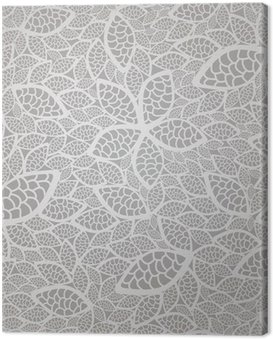 Seamless silver lace leaves wallpaper pattern Canvas Print