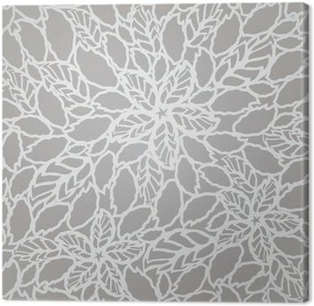 Seamless silver leaves and flowers lace wallpaper pattern Canvas Print