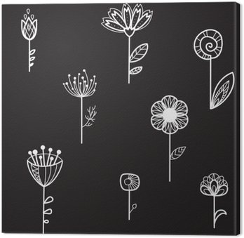 seamless texture with decorative flowers, black background, vector illustration