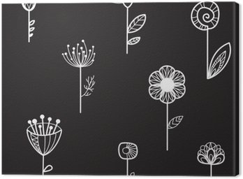 Canvas Print seamless texture with decorative flowers, black background, vector illustration