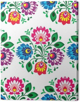 Canvas Print Seamless traditional floral pattern from Poland on white