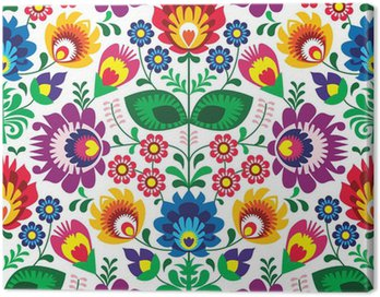 Canvas Print Seamless traditional floral polish pattern - ethnic background