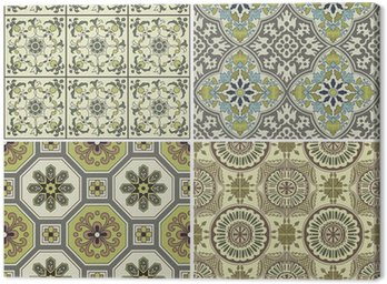 Canvas Print Seamless Vintage Background Collection - Victorian Tile in vecto
