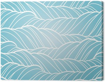 Canvas Print Seamless wave abstract hand drawn pattern.
