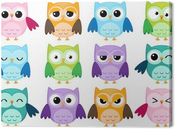 Set of 12 cartoon owls with various emotions Canvas Print