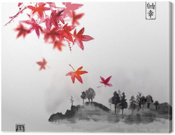 Set of compositions reprezenting four seasons. Sakura branch, bamboo, chrysanthemum and red maple leaves. Traditional Japanese ink painting sumi-e. Contains hieroglyph - happiness, luck.