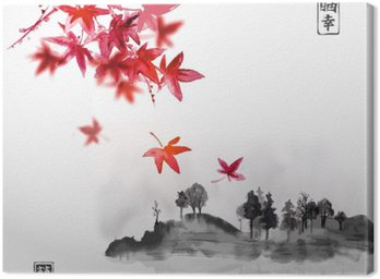 Set of compositions reprezenting four seasons. Sakura branch, bamboo, chrysanthemum and red maple leaves. Traditional Japanese ink painting sumi-e. Contains hieroglyph - happiness, luck. Canvas Print