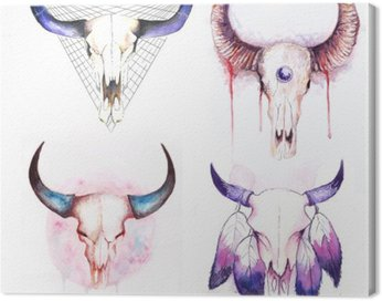 Canvas Print set of cow skull with horns