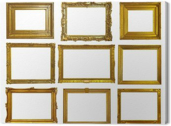 Canvas Print Set of gold picture frames.