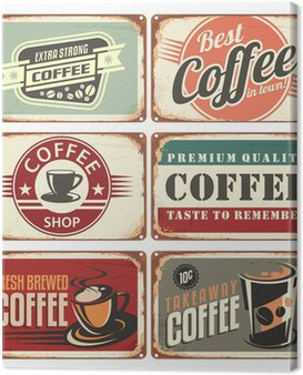 Canvas Print Set of vintage coffee tin signs