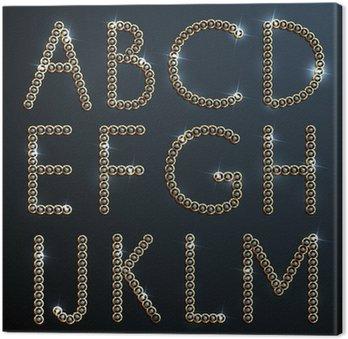 Canvas Print Shiny diamond and gold alphabet letters - uppercase version
