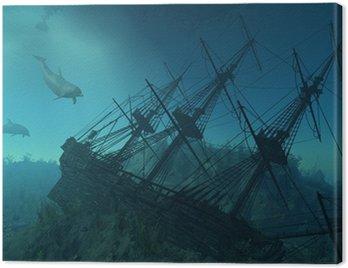 Canvas Print Shipwreck Beneath the Sea - 3d render