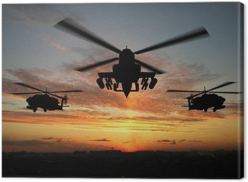 Canvas Print silhouette of helicopter