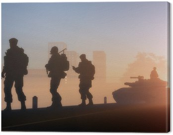Canvas Print Silhouettes of the military in the sunlight.