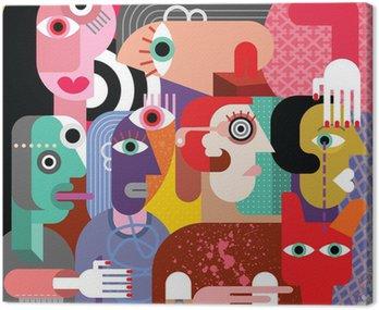 Canvas Print Six women and dog