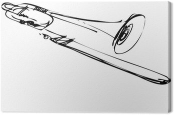 Canvas Print Sketch of copper musical instrument trombone
