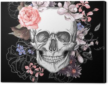 Canvas Print Skull and Flowers Day of The Dead