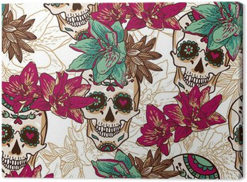 Canvas Print Skull, Hearts and Flowers Seamless Background