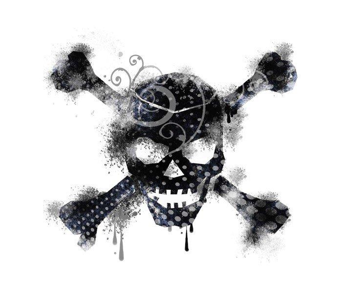 Canvas Print skull noir - Graffiti