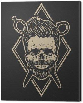 Skull with a beard and a stylish haircut. Canvas Print