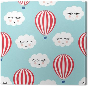 Smiling sleeping clouds and hot air balloons seamless pattern. Cute baby shower vector background. Child drawing style.