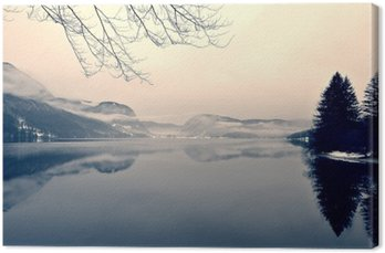 Snowy winter landscape on the lake in black and white. Monochrome image filtered in retro, vintage style with soft focus, red filter and some noise; nostalgic concept of winter. Lake Bohinj, Slovenia. Canvas Print