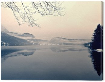 Snowy winter landscape on the lake in black and white. Monochrome image filtered in retro, vintage style with soft focus, red filter and some noise; nostalgic concept of winter. Lake Bohinj, Slovenia.