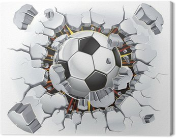 Soccer ball and Old Plaster wall damage. Vector illustration