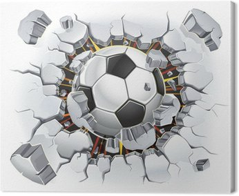 Canvas Print Soccer ball and Old Plaster wall damage. Vector illustration