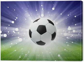 Canvas Print Soccer ball, stadium, light