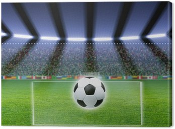 Canvas Print Soccer ball, stadium, spotlights