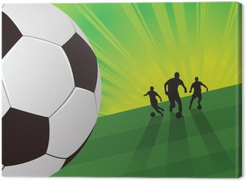 Canvas Print Soccer player on green light background