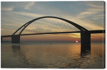 Sonnenuntergang an der Fehmarn-Sund Brücke Canvas Print