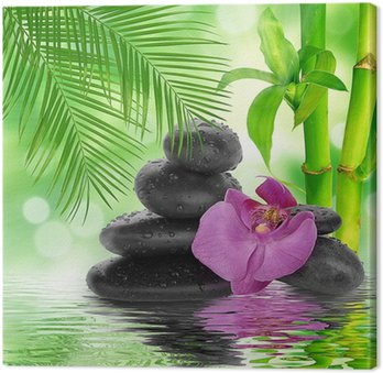 Canvas Print spa Background - black stones and bamboo on water