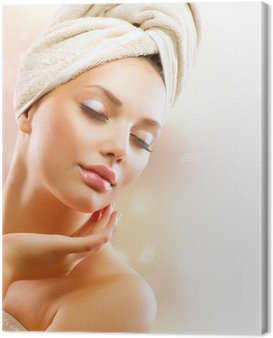 Spa Girl. Beautiful Young Woman After Bath Touching Her Face Canvas Print