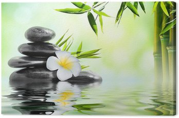 Canvas Print spa massage treatment in garden with frangipani and bamboo