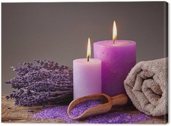 Spa still life with candles and lavender